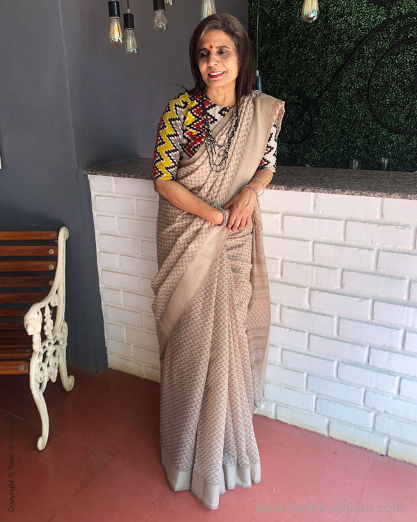EE-S28534 Chevron Grey sari