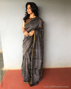 EE-S28814 Grey Chanderi Sari
