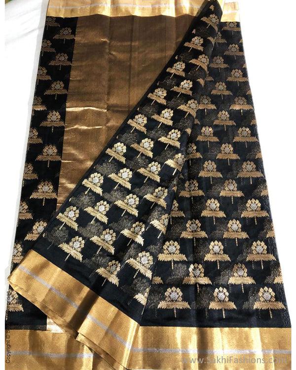 EE-S31248 Black Resham Chanderi