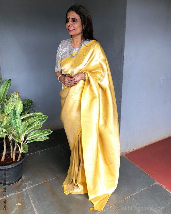EE-S31300 Yellow Banarsi Saree