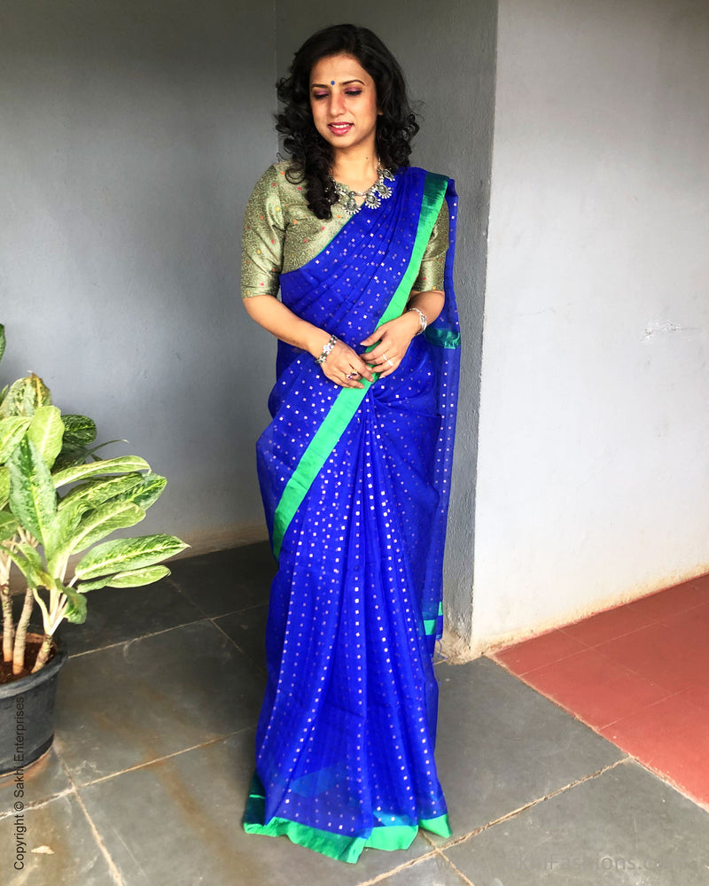EE-S31167 Blue Green Kora Saree