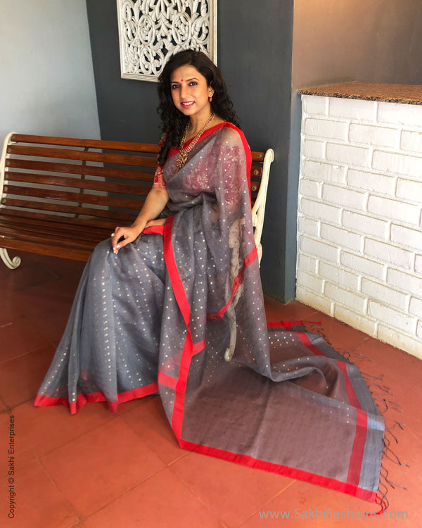 EE-S31166 Grey woven Sequin Saree