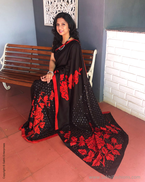 EE-S32150 Black Red Cutwork Saree