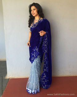 EE-S31287 Blue Cutwork Sari