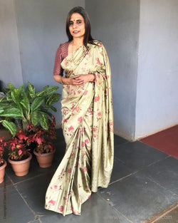 EE-S36042 Olive Green Saree