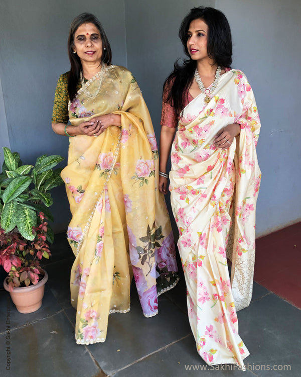 EE-S36045 Cream Flora Saree