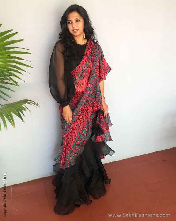 EE-S36989 Black Insta Saree