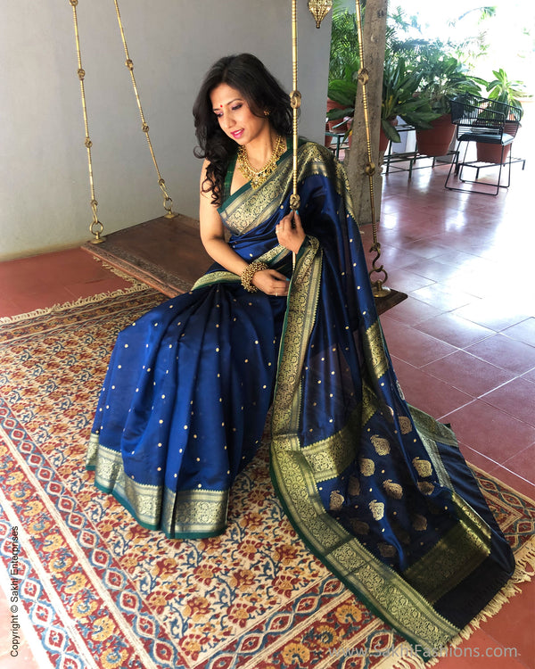 EE-S38352 Blue Resham Chanderi