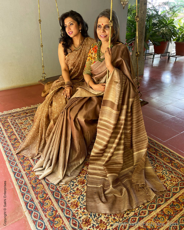 EE-S40837 Brown Tussar Silk