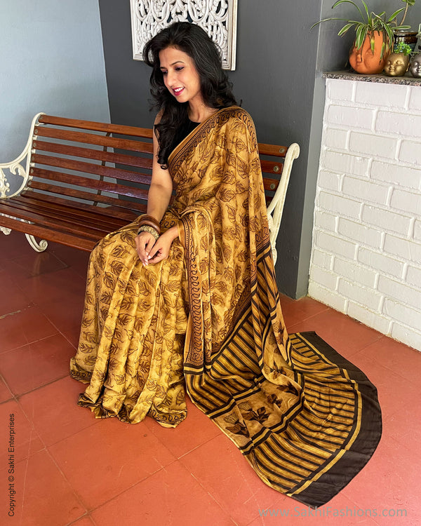 EE-S36371 Golden Ajrakh Saree