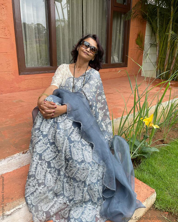 DP-TG21517 Grey Organza Saree