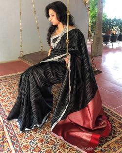 EE-S24107 Black Silver Saree