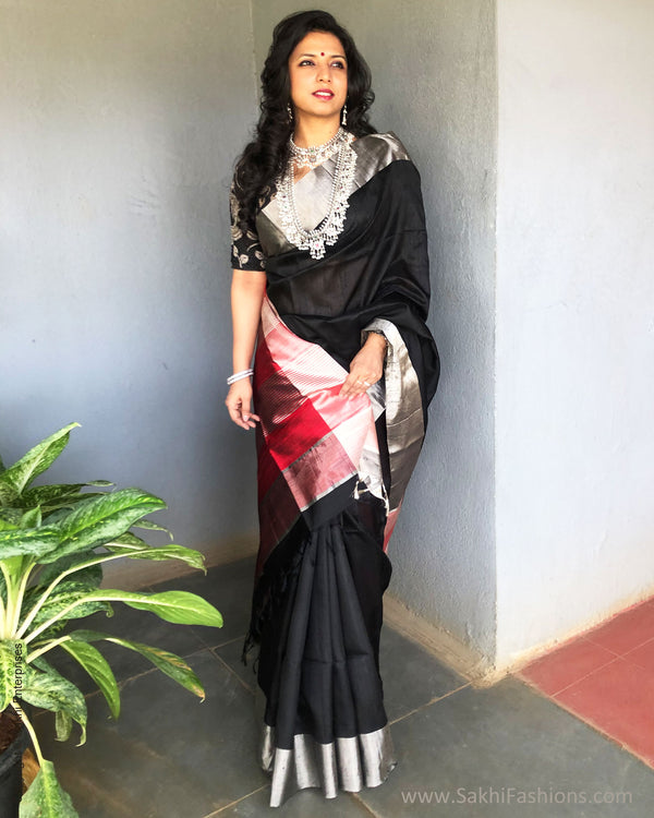 EE-S24115 Black Silver Saree