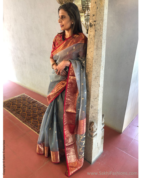 EE-S38348 Grey Katan Chanderi