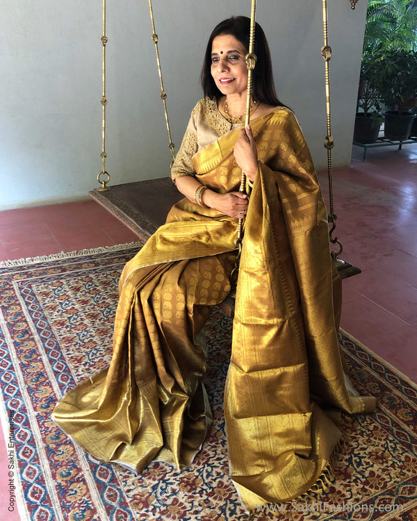 EE-S233316 - Honey Gold Kanjeevaram pure silk Saree