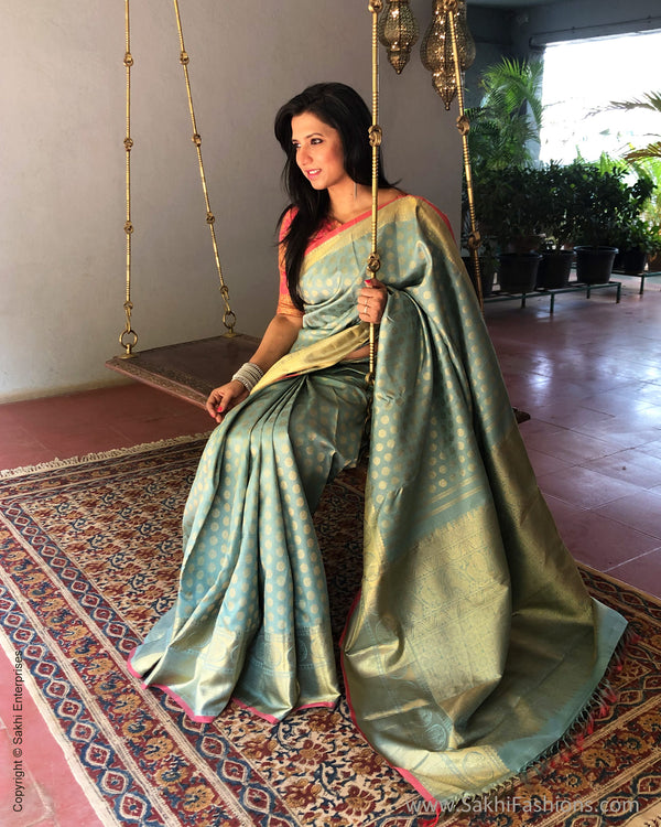EE-S23317 Ice Blue & peach Kanchi Sari