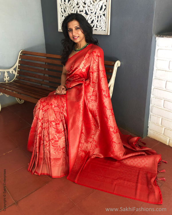EE-S25374 Banarsi Red Saree