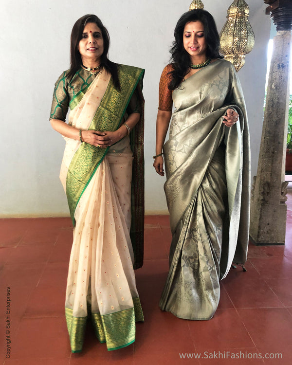 EE-S25378 Banarsi Green Saree