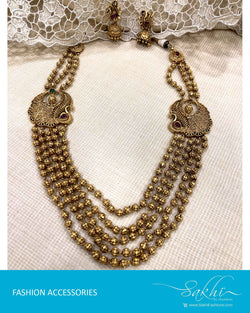 AJDS-22937 - Gold  Mix Metal Necklace & Earring