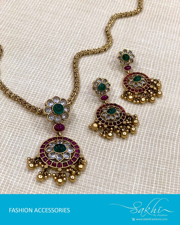 AJDS-22932 - Gold  Mix Metal Necklace & Earring
