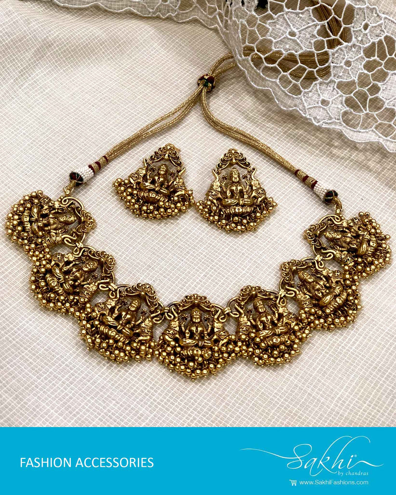 AJDS-22936 - Gold  Mix Metal Necklace & Earring