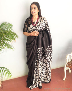 EE-S13151 - Black & Beige pure Silk saree