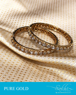 AGDS-20906 - Gold &  pure Gold Pair Bangle