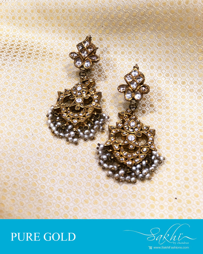 AGDS-20907 - Gold &  pure Gold Earring