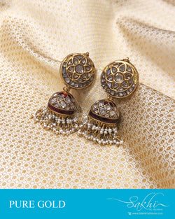 AGDS-20908 - Gold &  pure Gold Jumka Earring
