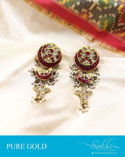 AGDS-20909 - Gold &  pure Gold Earring