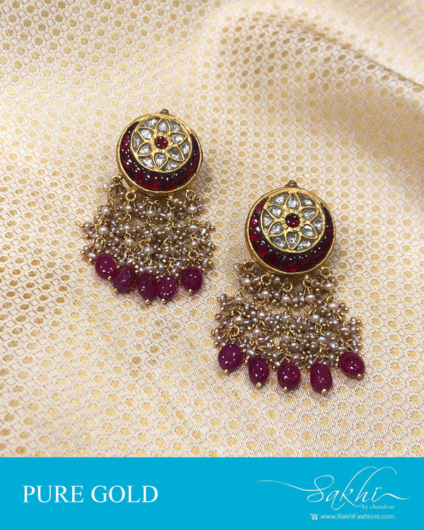 AGDS-20910 - Gold &  pure Gold Earring