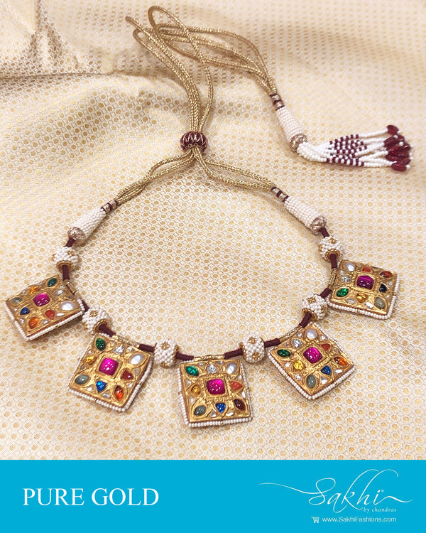 AGDS-20911 - Gold &  pure Gold Navarathna Necklace
