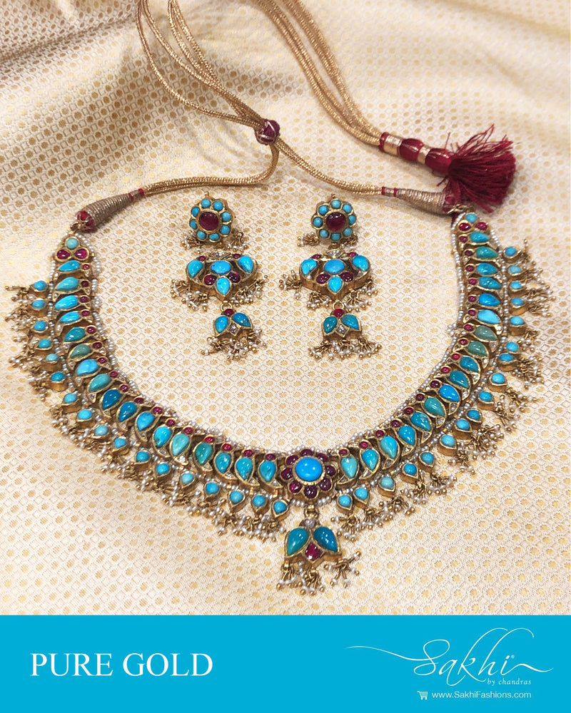 AGDS-20912 - Gold &  pure Gold Necklace & Earring