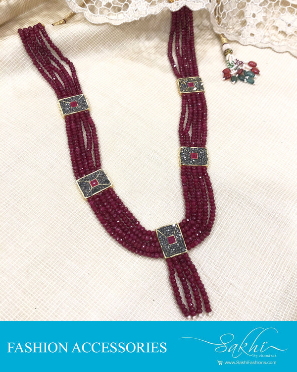 AJDS-0956 - Red &  Mix Metal  Mala