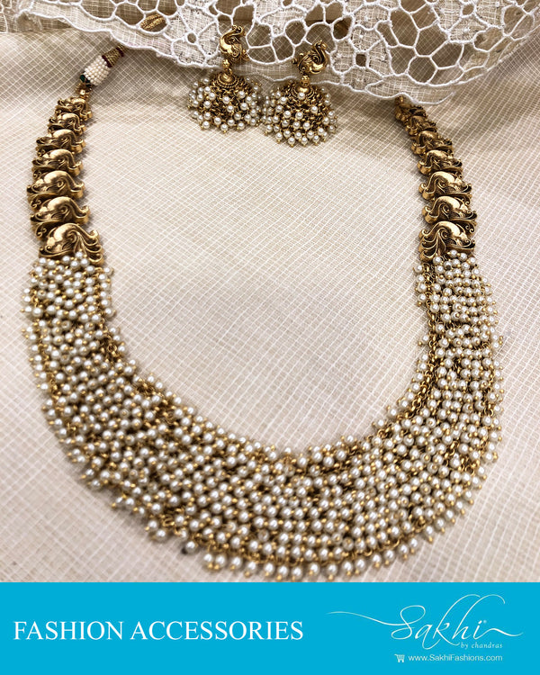 AJDS-20818 - Mix Metal Necklace & Earring