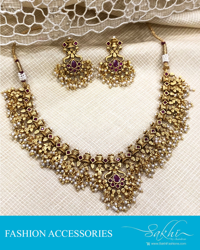 AJDS-20824 -Mix Metal Necklace & Earring