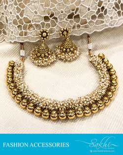 AJDS-20827 - Gold &  Mix Metal Necklace & Earring