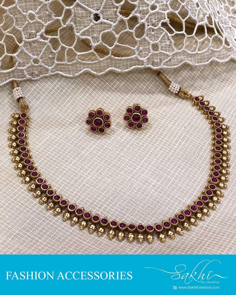 AJDS-20831 - Gold &  Mix Metal Necklace & Earring