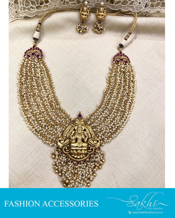 AJDS-20832 - Gold &  Mix Metal Necklace & Earring