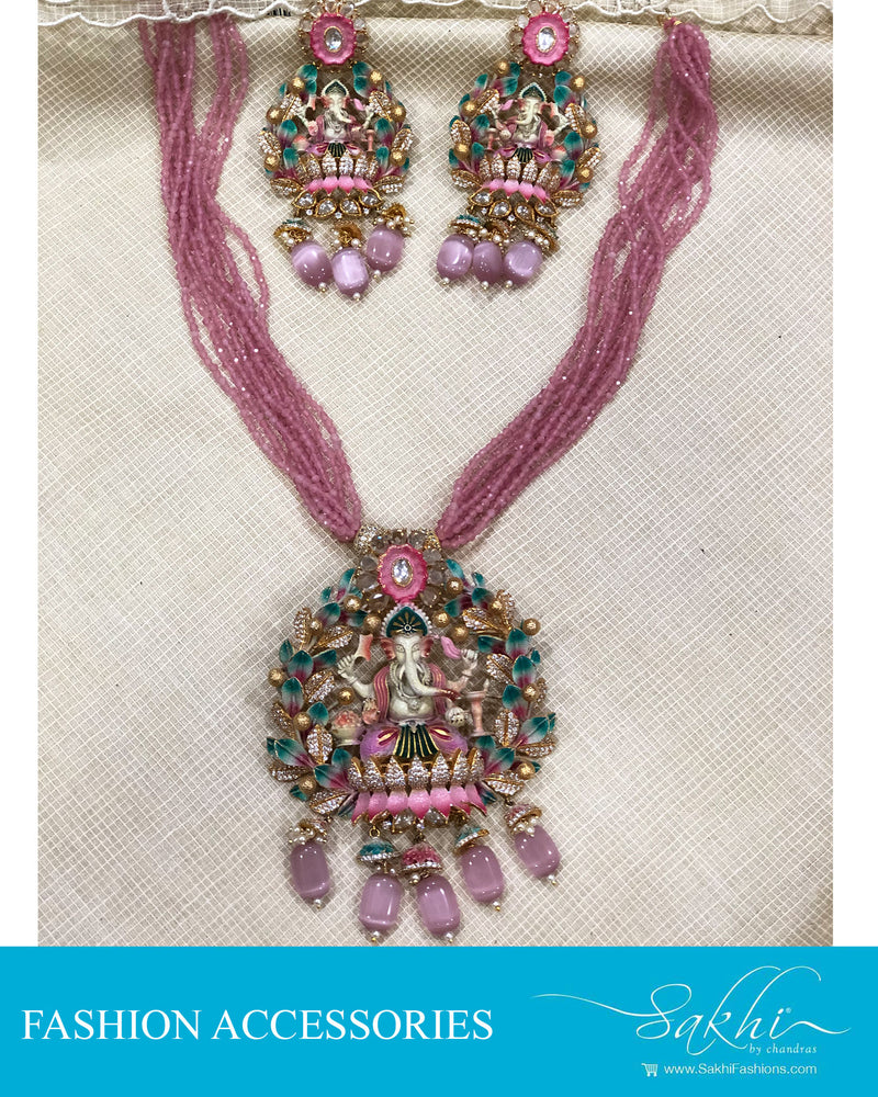 AJDS-20833 - Gold &  Mix Metal Necklace & Earring