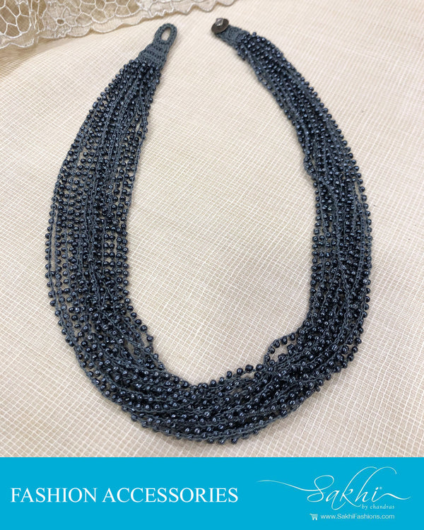 AJDS-20937 - Grey &  Mix Metal Mala