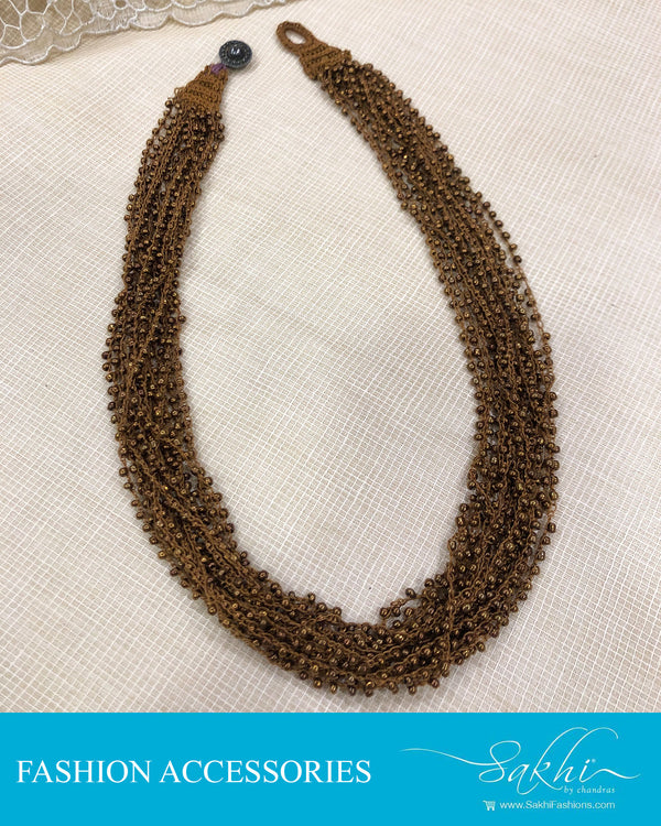 AJDS-20938 - Brown &  Mix Metal Mala