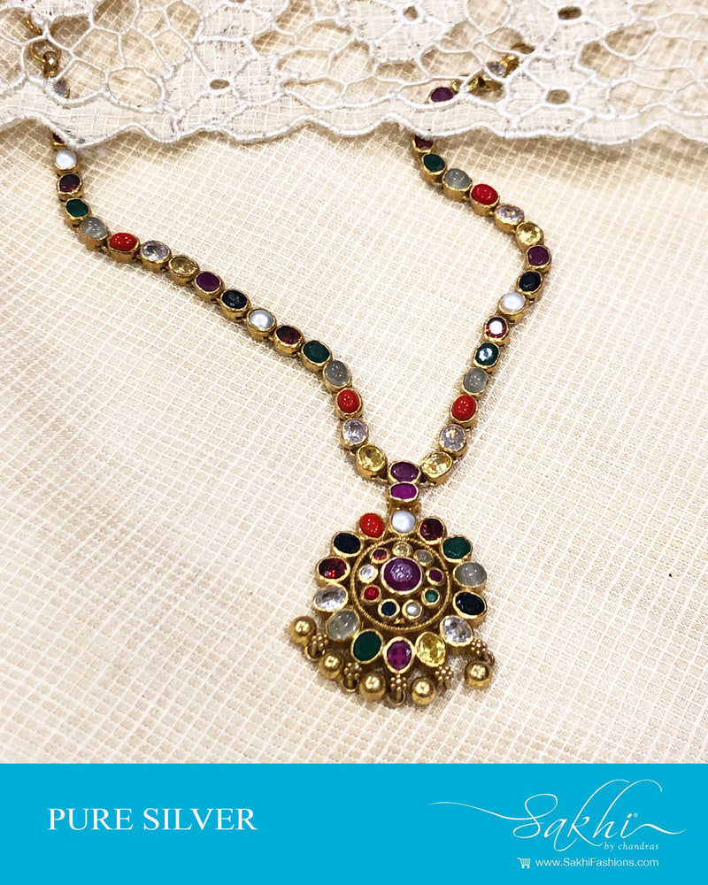 ASDS-20448 - Silver & multi pure Silver Navarathna Necklace