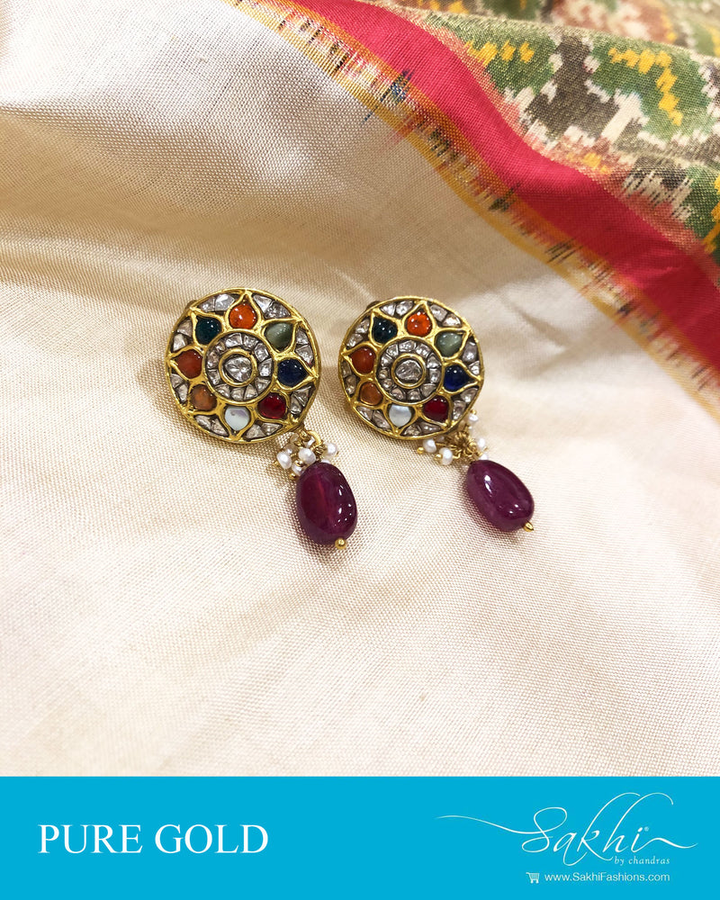 AGDS-20867 - Gold &  pure Gold Earring