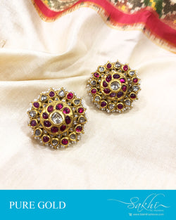 AGDS-20869 - Gold &  pure Gold Earring