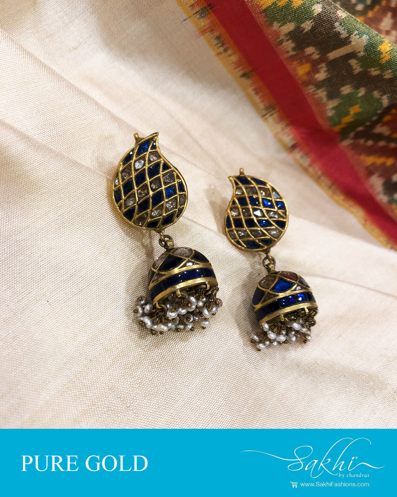 AGDS-20876 - Gold &  pure Gold Earring