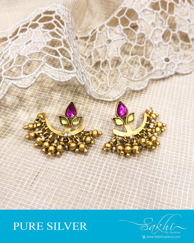 ASDS-20898 - Gold &  pure Silver Earring