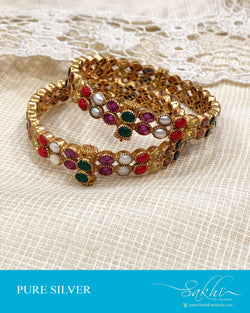 ASDS-21511 - Silver & multi pure Silver Navarathna Bangle