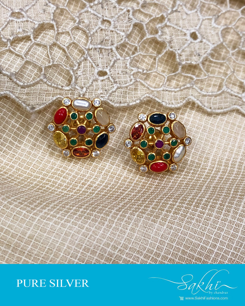 ASDS-21515 - Silver & multi pure Silver Navarathna Earring