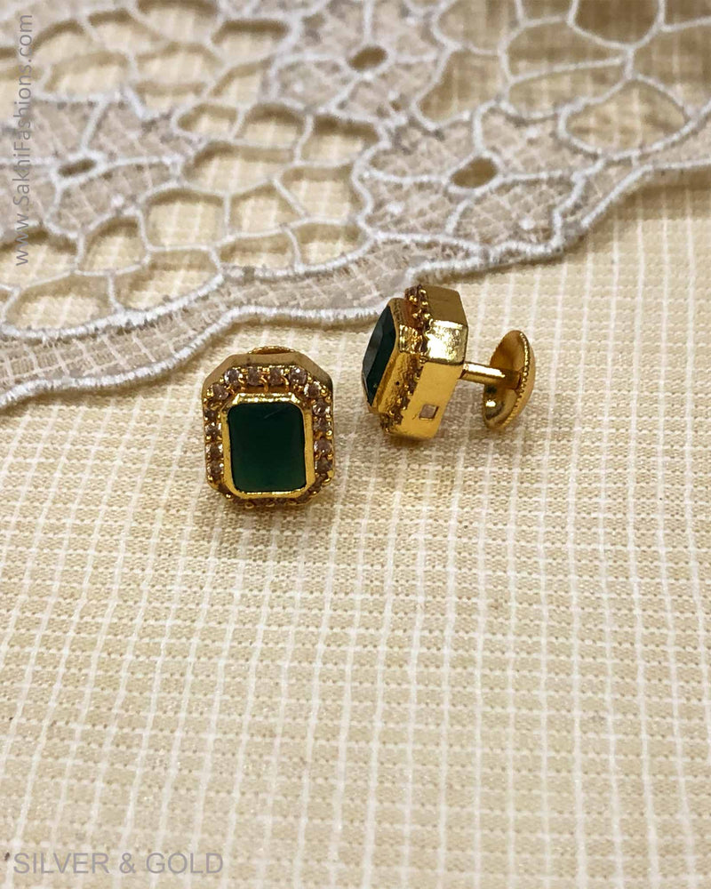 ASDS-23228 - Green stud earring Silver & Gold